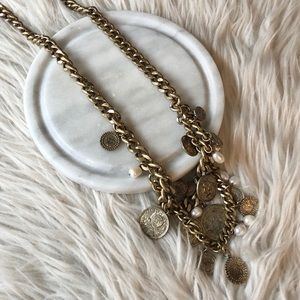 Ann Taylor | Aged Brass Coin & Pearl Necklace